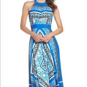 Scarf Print Halter Crêpe de Chine Maxi Dress